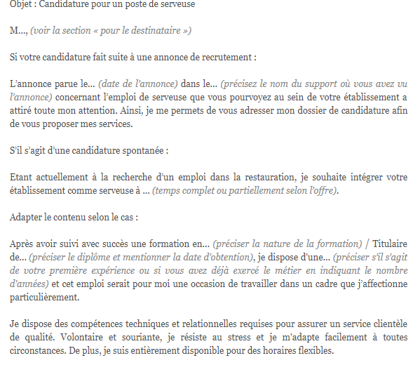 lettre de motivation serveuse