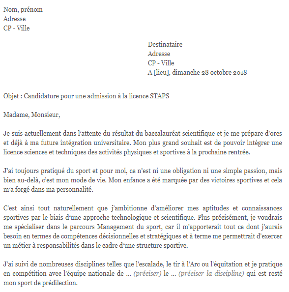 lettre de motivation parcoursup staps kine