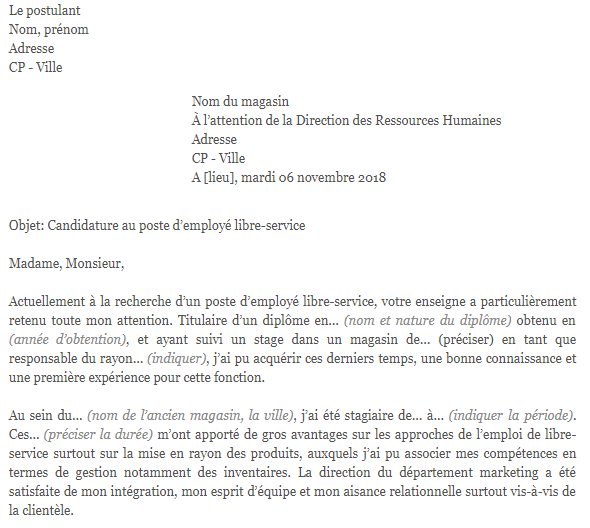 lettre de motivation employ u00e9 libre service