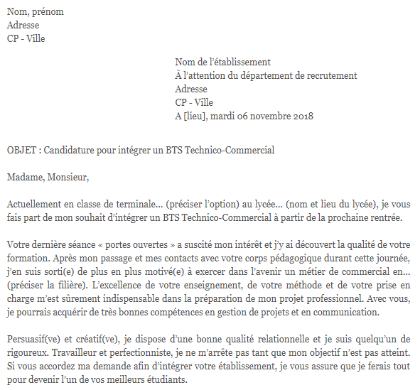 Lettre De Motivation Bts Technico Commercial Lettre De